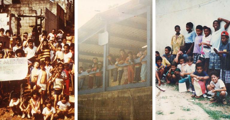 Montagem com três fotos, sendo a primeira delas de um mutirão realizado com a comunidade na década de 80, a foto seguinte é da primera sede do Estrela Nova, feita com madeiras onde as crianças estão apoiadas. E a terceira da primeira turma de crianças da escolinha.