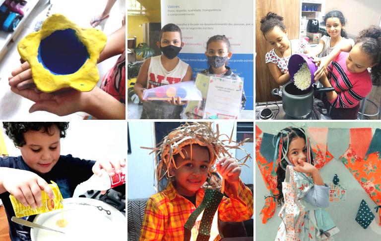 Montagem com fotos de crianças do CCA fazendo atividades de culinária, artesanato e fantasiados para a festa junina.