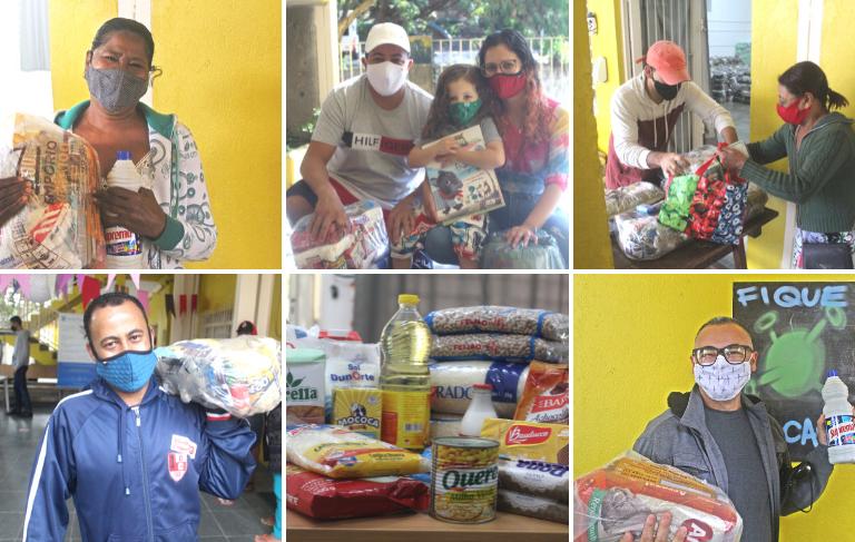 Montagem com seis fotos de pessoas e famílias recebendo as cestas básicas oferecidas pelo Estrela Nova.