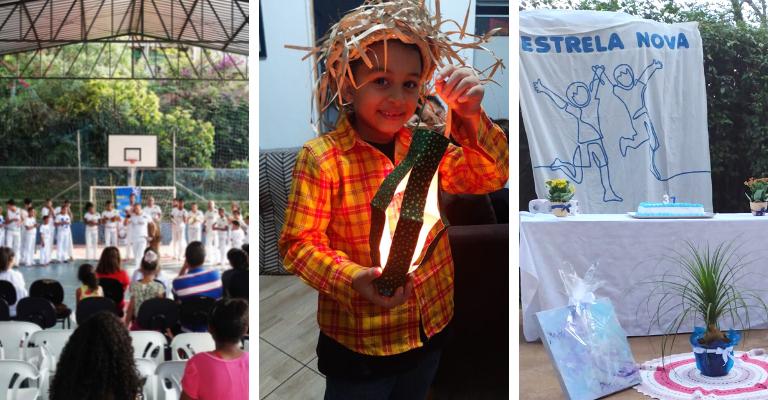 Montagem de três imagens, a primeira da quadra do Estrela Nova com apresentação de capoeira, a segunda uma criança com roupa típica de festa junina e uma lanterna e a terceira a imagem do bolo de comemoração dos 37 anos